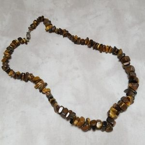 Vintage Tigers Eye 1970s Hippie Choker Necklace